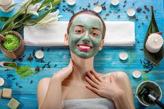 Woman with spa mask Royalty Free Stock Photos