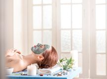Woman with spa mask Stock Photo
