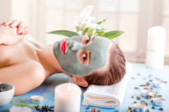 Woman with spa mask Stock Photography