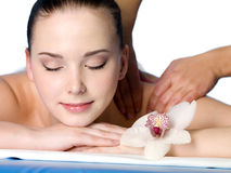 Woman in spa massage Stock Image