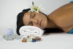 Woman at spa massage stock photos