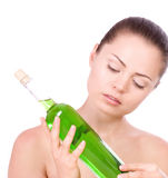 Woman with spa oils Royalty Free Stock Photos