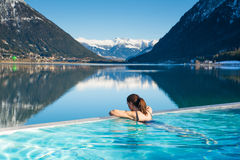 Woman in spa pool Royalty Free Stock Image
