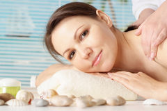 Woman in the spa. Portrait of a beautiful woman in the spa royalty free stock photography