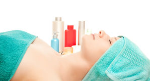 Woman at spa procedures Stock Photos