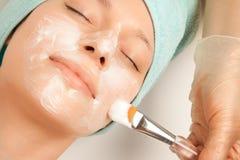 Woman at spa procedures applying mask Stock Photos