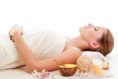Woman in spa receiving treatment Royalty Free Stock Images
