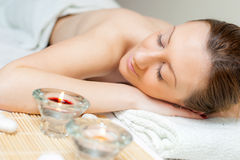 Woman Spa Relax. Beautiful young woman getting a spa treatment and relaxing Royalty Free Stock Photography