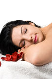 Woman at spa resort. Close up of beauty woman face  relaxing at spa massage isolated on white background,more spa photos in Spa,aromatherapy ,massage Royalty Free Stock Photos