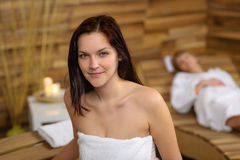 Woman at spa room wrapped in towel Royalty Free Stock Photo
