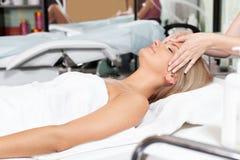 Woman in spa salon stock image