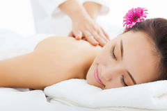 Woman in spa salon getting massage Royalty Free Stock Images