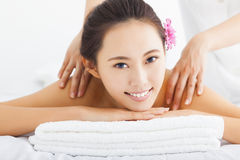 Woman in spa salon getting massage Stock Photography