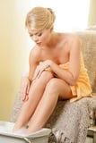 Woman in spa salon having pedicure Stock Photo