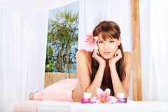 Woman in spa salon resting Stock Photos
