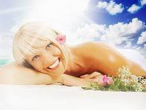 Woman in a spa salon Royalty Free Stock Images