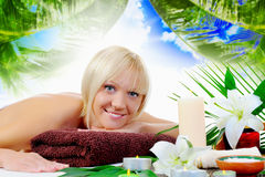 Woman in a spa salon Stock Photos