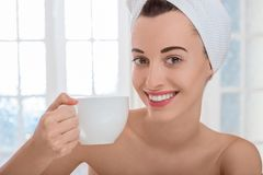 Woman in spa salon stock images