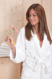 Woman in spa or sauna relax center Stock Photos