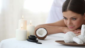 Woman at spa session stock footage