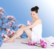 Woman in a spa Stock Photography