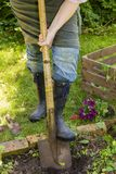Woman with spade in a garden Royalty Free Stock Photography