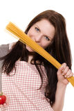 Woman with spaghetti and tomato Stock Photography
