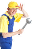 Woman with spanner royalty free stock photography