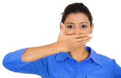 Woman, speack no evil Stock Photo