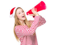 Woman speak with megaphone. Isolated over white background Royalty Free Stock Images