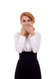 Woman in the Speak No Evil pose. Business woman in the Speak No Evil pose over white Royalty Free Stock Photos