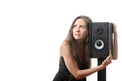 Woman with a speaker Royalty Free Stock Image