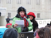 Woman Speaker. Photo of pro life protester in downtown washington dc at the supreme court on 1/25/13. The woman speaker regrets her decision to have an abortion stock photos