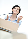 Woman speaker at the board Royalty Free Stock Photo