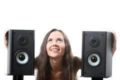 Woman with a speakers Stock Images