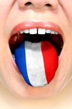 Woman speaking french language Stock Photos