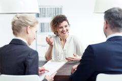 Woman speaking about her experience Stock Images