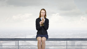 Woman speaking in horn Royalty Free Stock Photography