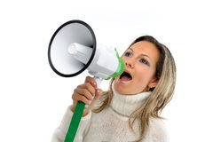 Woman speaking through megaphone Royalty Free Stock Photography