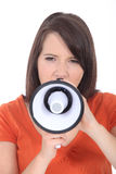 Woman speaking into megaphone Royalty Free Stock Image