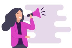 Woman speaking on a megaphone for feminist support vector. stock illustration