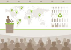 Woman speaker doing presentation infographic about global issues in the world. stock illustration