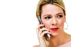 Woman speaking on mobile phone Stock Photos