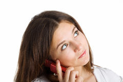 A woman speaking by mobile phone Royalty Free Stock Image