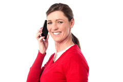 Woman speaking over cellphone Royalty Free Stock Image