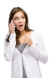 Woman speaking on phone Stock Images