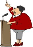 Woman speaking at a podium. Illustration of a middle aged woman speaking from behind a podium with one arm raised royalty free illustration