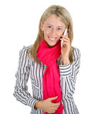 Woman speaking on a smartphone Royalty Free Stock Photos