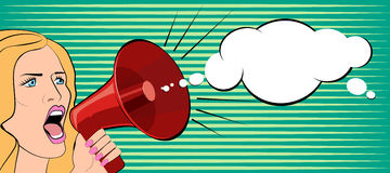 The woman speaks in a megaphone. Vector illustration stock illustration