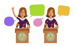 Woman speaks from podium, tribune. Business concept. Vector flat illustration Royalty Free Stock Photos